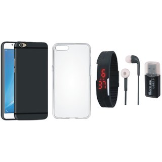 K8 Note Silicon Anti Slip Back Cover with Memory Card Reader, Silicon Back Cover, Digital Watch and Earphones