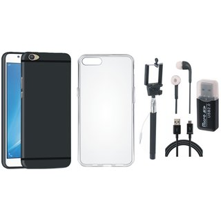 Oppo F3 Plus Silicon Slim Fit Back Cover with Memory Card Reader, Silicon Back Cover, Selfie Stick, Earphones and USB Cable