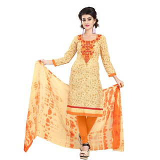 Florence Beige Cotton Semi stitched Dress Material
