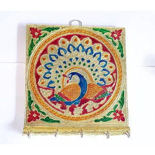 Handcrafted Minakari Key Holder - Peacock Design Square Shape - 5 Hooks - Wall Hanging Holders