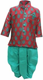 Tumble Red  Green Full Sleeves Kurta  Dhoti Set