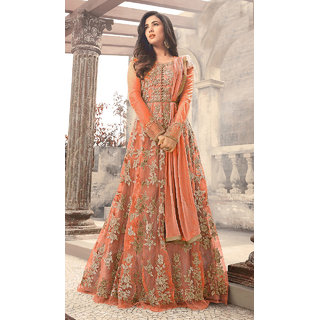 Salwar Soul Women's Designer Orange Color Long  Gown With Fany Work