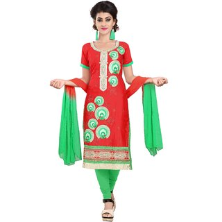 Florence Green and Red Cotton Semi stitched Dress Material