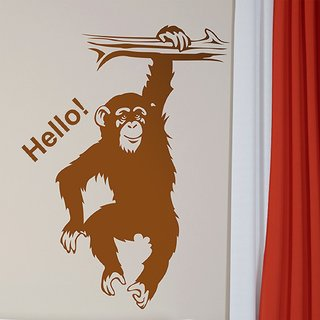Asmi Collections Wall Stickers Say Hello to Cute Hanging Chimpanzee