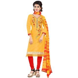 Florence Yellow Cotton Semi stitched Dress Material