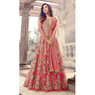 Salwar Soul Women's Designer Pink Color Long  Gown With Fany Work