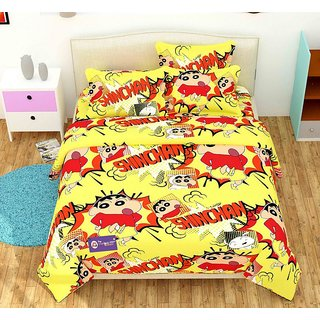 The Intellect Bazaar Pure Cotton ShinChan Cartoon Double Bedsheet (90 x 100 inch) for Kids with 2 Pillow Covers Yellow