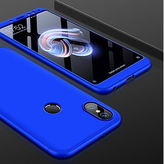 Mobimon 360 Degree Full Body Protection Front Back Case Cover for RedMi Note 5 Pro With Tempered Glass (iPaky Style) - Blue