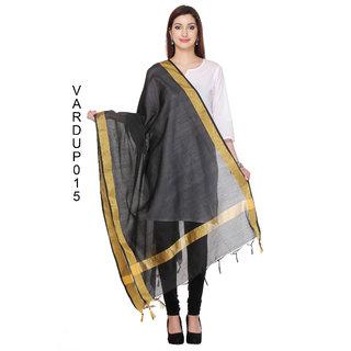Fabwomen Sarees Zari Work Woven Chanderi  Black Coloured Casual Wear Women's Dupatta.