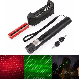 200 mw Rechargeable Red Green Laser Pen Pointer 5 Mile + Battery + Charger