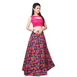 Active Womens Wonder Blue Bhagalpuri Print Semi-Stitched Lehenga Choli