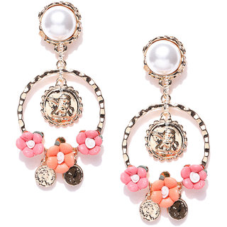Jewels Galaxy Luxuria Edition Exquisite Floral Design Pearl Gold Plated Sparkling Sheen Chandelier Earrings For Women/Gi