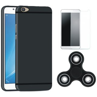 Moto C Stylish Back Cover with Spinner, Tempered Glass