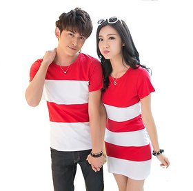 Korean Red and white t shirt dress combo for couple