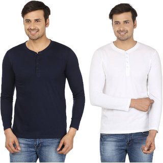 Adorbs Solid Men's Henley Navy, White T-Shirt(Pack of 2)
