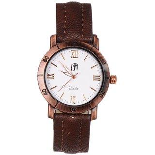 JM Black Leather Chronograph Analog Watch