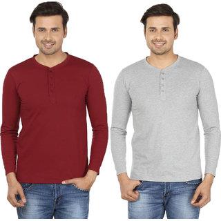 Adorbs Solid Men's Henley Maroon, Grey T-Shirt(Pack of 2)