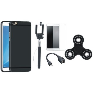 Oppo F3 Plus Silicon Slim Fit Back Cover with Free Spinner, Selfie Stick, Tempered Glass and OTG Cable
