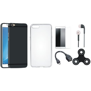 Oppo F3 Plus Silicon Slim Fit Back Cover with Spinner, Silicon Back Cover, Tempered Glass, Earphones and OTG Cable