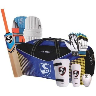 SG FULL SIZE CRICKET KIT WITH HELMET  3 PCS BAT GRIP  6 PCS STUMPS