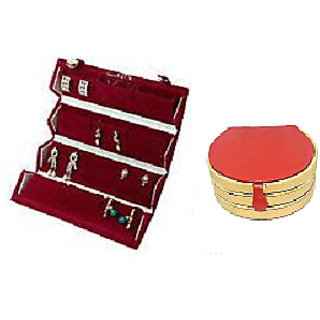 ADWITIYA Combo-Red Big Earring Tops Studs Case and Rust Bangle Jewelry Storage Organizer Travel Friendly Gift Box