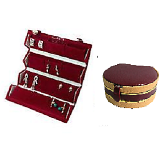 ADWITIYA Combo-Red Big Earring Tops Studs Case and Maroon Bangle Jewelry Storage Organizer Travel Friendly Gift Box