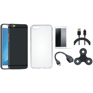 Moto C Plus Silicon Slim Fit Back Cover with Spinner, Silicon Back Cover, Tempered Glass, OTG Cable and USB Cable