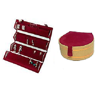 ADWITIYA Combo-Red Big Earring Tops Studs Case and Bangle Jewelry Storage Organizer Travel Friendly Gift Box