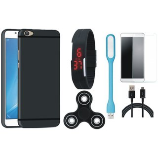 Moto C Plus Premium Back Cover with Free Spinner, Digital LED Watch, Tempered Glass, LED Light and USB Cable