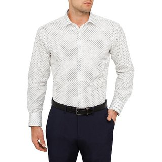 Frankline Men's White Dotted Printed Casual Shirts