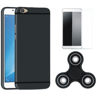 Moto C Plus Silicon Anti Slip Back Cover with Spinner, Tempered Glass