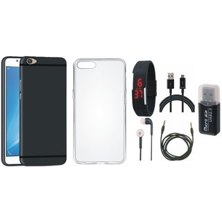Vivo V7 Soft Silicon Slim Fit Back Cover with Memory Card Reader, Silicon Back Cover, Digital Watch, Earphones, USB Cable and AUX Cable