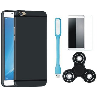 Moto C Plus Cover with Spinner, Tempered Glas and USB LED Light