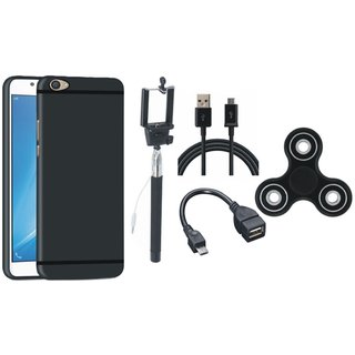 Motorola Moto E4 Plus Plus Silicon Anti Slip Back Cover with Spinner, Selfie Stick, OTG Cable and USB Cable