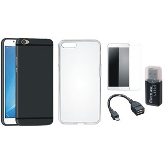 Vivo V7 Silicon Slim Fit Back Cover with Memory Card Reader, Silicon Back Cover, Tempered Glass and OTG Cable