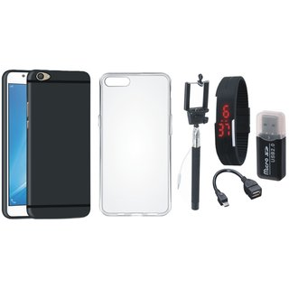 Vivo V7 Silicon Slim Fit Back Cover with Memory Card Reader, Silicon Back Cover, Selfie Stick, Digtal Watch and OTG Cable