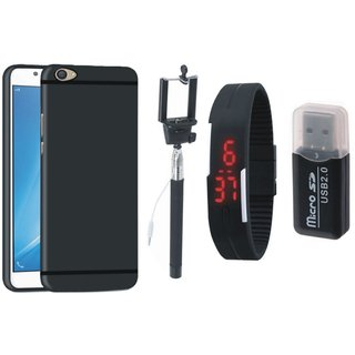 Samsung J7 Pro Silicon Anti Slip Back Cover with Memory Card Reader, Selfie Stick and Digtal Watch