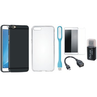Samsung C9 Pro Stylish Back Cover with Memory Card Reader, Silicon Back Cover, Tempered Glass, USB LED Light and OTG Cable