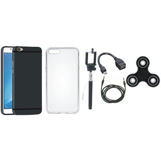 Vivo V5s Silicon Slim Fit Back Cover with Spinner, Silicon Back Cover, Selfie Stick, OTG Cable and AUX Cable