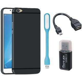 Samsung C9 Pro Silicon Anti Slip Back Cover with Memory Card Reader, USB LED Light and OTG Cable