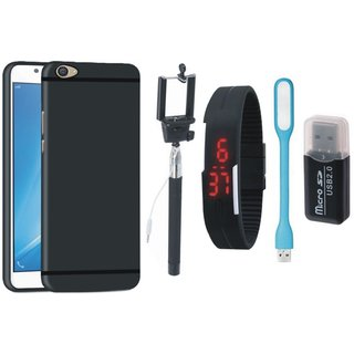 Samsung C7 Pro Silicon Anti Slip Back Cover with Memory Card Reader, Selfie Stick, Digtal Watch and USB LED Light