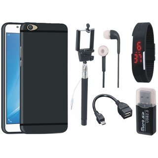 Samsung C7 Pro Silicon Anti Slip Back Cover with Memory Card Reader, Selfie Stick, Digtal Watch, Earphones and OTG Cable