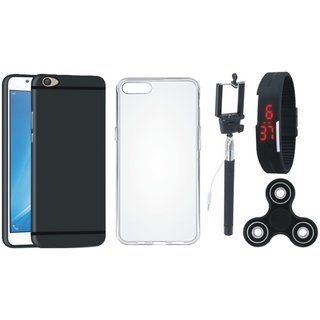 Samsung C7 Pro Soft Silicon Slim Fit Back Cover with Spinner, Silicon Back Cover, Selfie Stick and Digtal Watch
