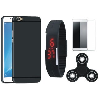 Samsung C7 Pro Silicon Slim Fit Back Cover with Free Spinner, Digital LED Watch and Tempered Glass