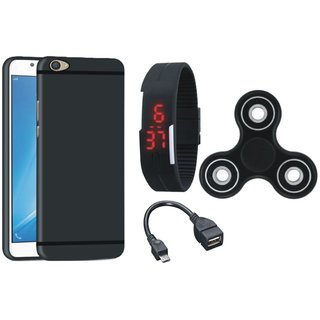 Samsung C7 Pro Silicon Anti Slip Back Cover with Spinner, Digital Watch and OTG Cable