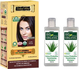 Halal Certified Hair Colour Botanical Soft Black And 2 CP Shampoo Combo Pack Of 3
