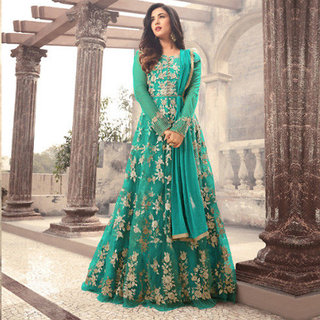 Salwar Soul Women's Designer Green Color Long  Gown With Fany Work
