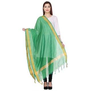 Fabwomen Sarees Zari Work Woven Chanderi  Green Coloured Casual Wear Women's Dupatta.
