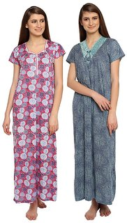 Dhir Fashions Women's Cotton Printed Nighty(PINK-BLUE),Free Size