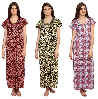 Dhir Fashions Women's Cotton Printed Nighty(YELLOW-PINK-ORANGE),Free Size
